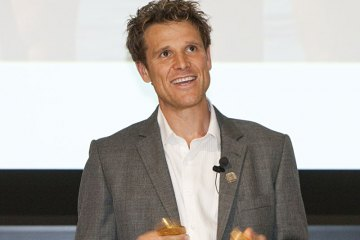 James Cracknell talking at RHUL